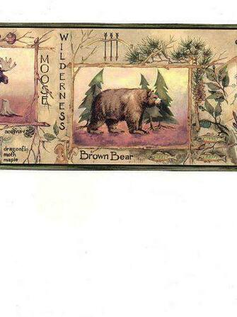 Trout Bear Hunting Fishing Brown Sage Green Gold Wallpaper Border