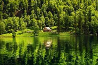 wallpaper forest lake cabin landscape desktop wallpaper