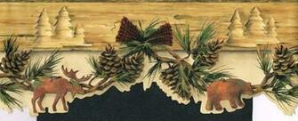 Wallpaper Border Wall Country Moose Bear Amp Pine Cones Needles 6 1 2