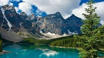 Download Wallpaper Blue lake and rocky mountains 1600 x 900
