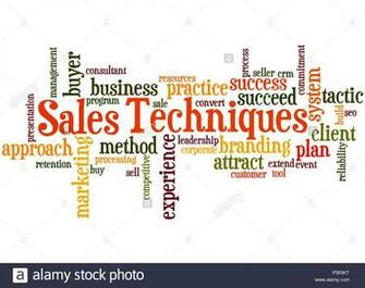 Sales Techniques word cloud concept on white background Stock