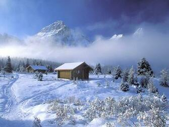 Winter wallpapers cabin in the mountains Urban Art Wallpaper