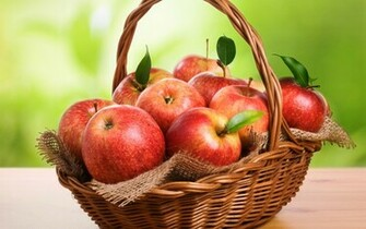 Fresh Red Apples in a Basket HD Wallpaper HD Nature Wallpapers