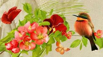 Pretty Birds Flowers wallpaper   ForWallpapercom
