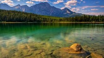 Beautiful Clouds Forest Green Lake   1366x768 iWallHD   Wallpaper HD