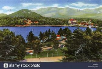 Lake Placid NY USA   Lake Placid Club and Mirror Lake   Cobble