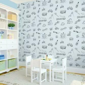 Doodle BlueBlack Removable Kids Wallpaper