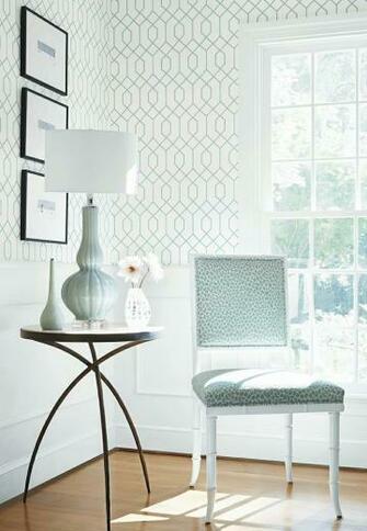 La Farge wallpaper in Aqua Darien Chair in Tanzania woven fabric in