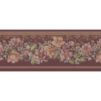 451 1601 Burgundy Floral Scrolled Trail   Brewster Wallpaper Borders