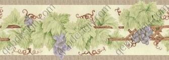 Trellis Sketch grape vine traditional kitchen wallpaper border from