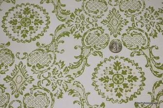 1960s Vintage Wallpaper green and metallic gold damask
