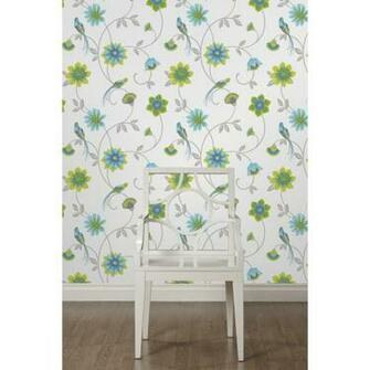 Fine Decor Eden Bird Designer Feature Wallpaper White Green Blue