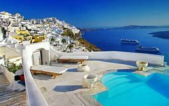 Santorini Greece Hotels Honeymoon HD Wallpaper Background Images