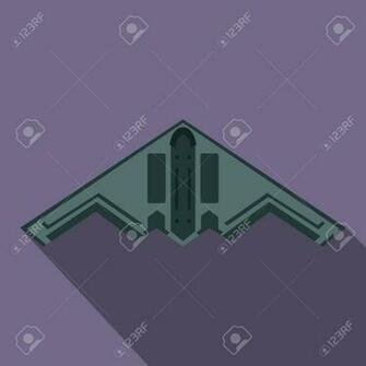 Stealth Bomber Icon In Flat Style On A Violet Background Royalty