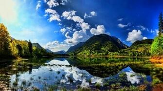 Summer sunshine scenes lake mountain wallpapers on your desktop screen