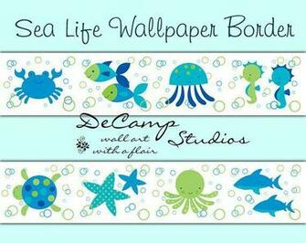 Life wallpaper border wall decals for baby boy or girl ocean creatures
