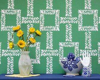 Trellis Boxwood Leaf Wall Stencil Pattern by royaldesignstencils