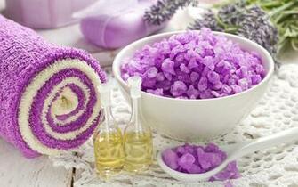 Lavender spa saucer salt bubbles oil soap bow wallpaper background