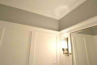 wallpaper to new crown molding and wainscot molding on walls Molding
