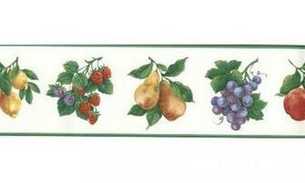 Home Green White Fruit Wallpaper Border