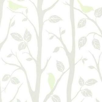 Light Green Bird Branches Wallpaper Bolt   Contemporary   Wallpaper