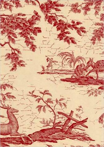 La Chasse Wallpaper Traditional French burgundy and beige wallpaper
