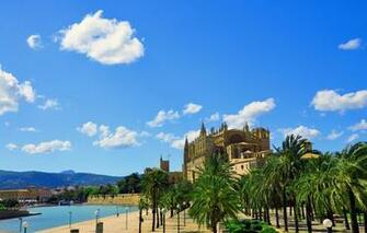 Wallpaper the city the building Cathedral fortress Palma de