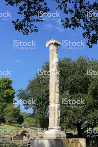 Newly Restored Column And Crypt In Background Ancient Olympia