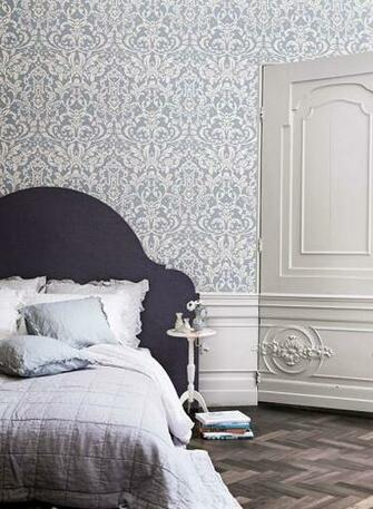 Powder Blue Ornamental Damask Wallpaper Damask Wallpaper