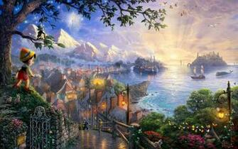 Sunset landscapes disney company movies ships fantasy art
