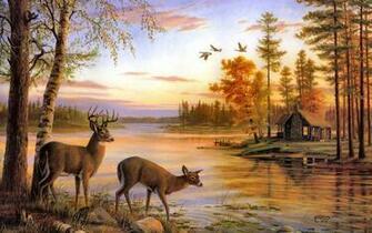 deer artwork cabin lakes 1920x1200 wallpaper High Resolution Wallpaper