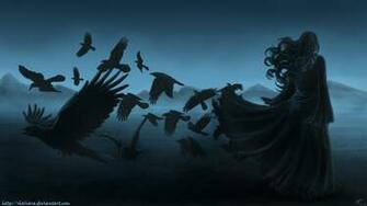 dark horror gothic women raven poe birds art mood wallpaper background