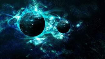 1366x768 Light Blue Galaxy Planets desktop PC and Mac wallpaper