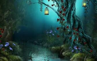 fantasy landscape art trees flowers rivres art wallpaper background