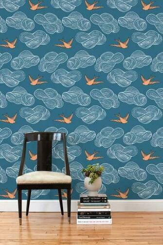 Hygge West Daydream Blue Tile   removable wallpaper
