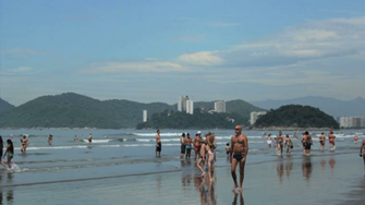 People chilling at Santos Beach Sao Paulo Brazil Stock Video