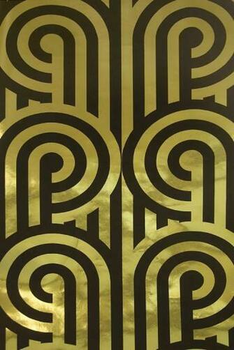 Turnabouts Wallpaper Striking metallic Gold and black looping stripe