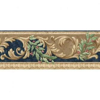 roth 8 Navy And Brown Scroll Prepasted Wallpaper Border at Lowescom