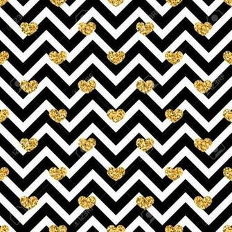 Gold Heart Seamless Pattern Black white Geometric Zig Zag Golden
