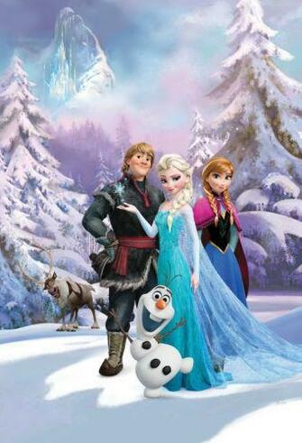 Details about DISNEY FROZEN WALLPAPER MURAL ANNA ELSA SVEN OLAF KIDS