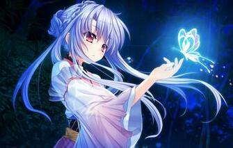 Wallpaper girl night butterfly foliage the game art girl