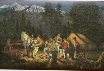 Western Wallpaper Border Campfire cowboys wallpaper