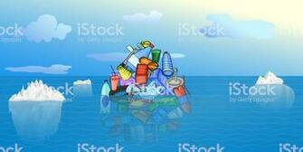 Plastic Pollution Iceberg Of Plastic Waste On The Background Of
