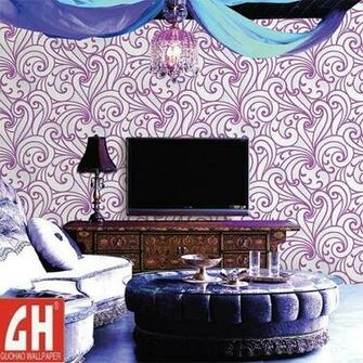 China Removable Purple and White Vinyl Wallpaper   China Wallpaper
