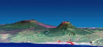 Space Images Nyiragongo Volcano Congo Perspective View with