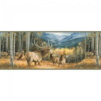 Lake Forest Lodge Elk Border   Wildlife Cabin Decor Wallpaper