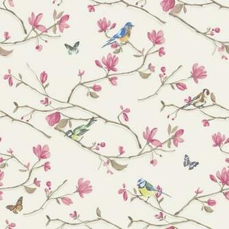 Dcor Kira Bird Butterfly Pattern Floral Flower Motif Wallpaper 98121