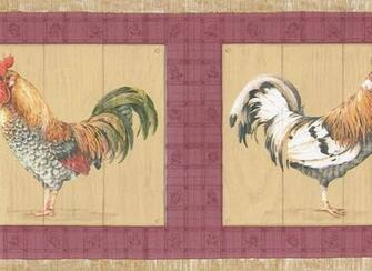 Beige Red Roosters Wallpaper Border   Country Folk