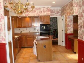 Kitchen In Country Style With Wallpaper Spectacular Kitchen