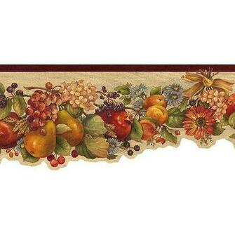 Rust Fruit and Flowers Wallpaper Border Kitchen Dining